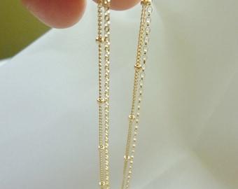 Multi Chain Necklace,Multi Layer Necklace, Layered Necklace,Gold Satellite Chain Bracelet,Multi Strand Bracelet,Layered Gold Bracelet