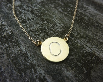 Gold Disc Necklace,Hand Stamped Initial Necklace,Personalized Disc Necklace,Initial Disc,Single Initial Necklace,Teacher's Gift,Gift For Her