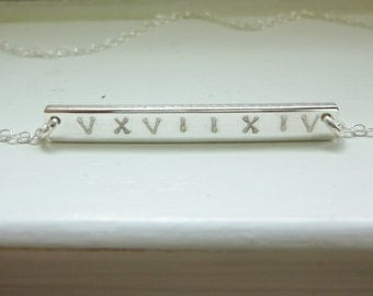 Roman Numeral Necklace,Name Plate Necklace,Date and Name Necklace,Initial Bar Necklace,Engraved Bar Necklace,Monogram Necklace,Momentusny