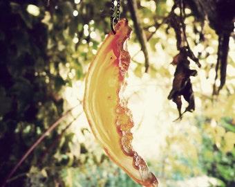 dragon long necklace pendant orange agate slice ( one of a kind, original, ishtar, geode, sunny ) 01