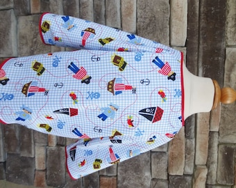 2/3 Art Smock - Size 2T 3T - Pirates - Waterproof and Long Sleeved