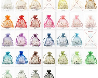 100 Organza Bags, 3 x 4 Inch Sheer Fabric Favor Bags,  For Wedding Favors, Drawstring Jewelry Pouch- CHOOSE Your Color Combo