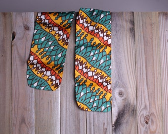 50s 60s Head Wrap - Vintage GoGo Teal and Orange Scarf - Mod Scarf - Tribal Print