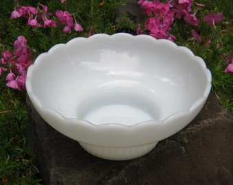 White Milk Bowl or Planter by E O Brody - Wedding Decor - Table Centerpiece - Oak Hill Vintage