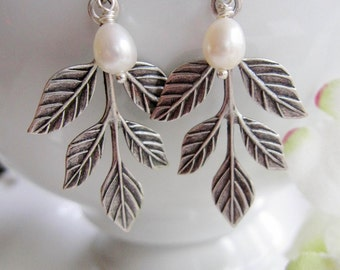 Silver Leaf Earrings, Antique Silver, Spring Leaves, Oval Pearl, Trinity brass, Woodland, Boho Style, Nature, Fall Leaves
