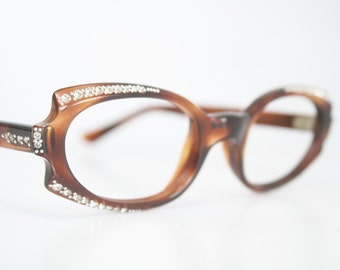 NOS Tortoise Rhinestone cat eye glasses vintage cateye frames eyeglasses