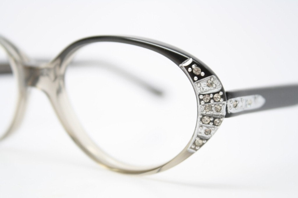 Small Rhinestone Cat Eye Glasses Vintage Cateye Frames 1950s