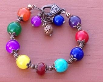 SALE_Rainbow chakra bracelet. Multi stone, multi color, genuine copper, vintage antique style, beaded, handmade, natural gemstones