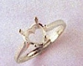 Sterling Silver Heart 6-Prong Ladies Pre-Notched Ring Setting Size 7 (5x5-7x7mm) #163631