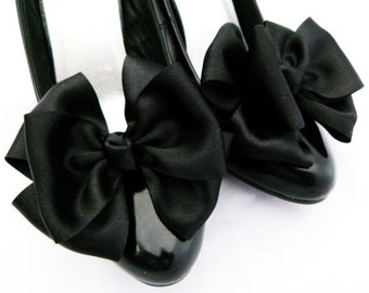 Black Shoe Clips for Shoes Bows Satin Pinup Burlesque Retro Vintage Style by Seriously Sassyx