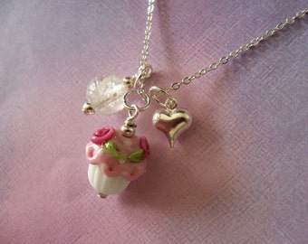 Girl Necklace, Cupcake, Glow in the Dark, Little Girl Jewelry, Little Miss,