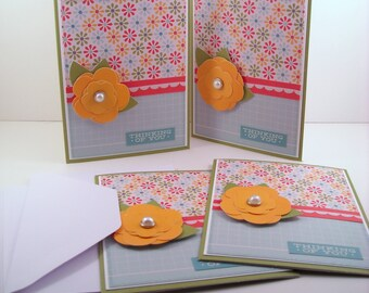 Set of 4 Thinking of You Cards: Yellow Flower