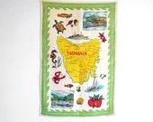 Souvenir Vintage Tea Towel Tasmania Australia, Kitsch Decor, Retro Kitchen Decor, 60s Dish Cloth, Australiana