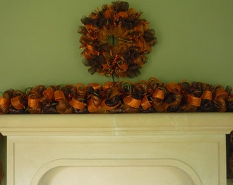 Fall Garland, Garland for Doors, Autumn Garland, Fall Mesh Garland, Burnt Orange Chocolate Copper Item 1137