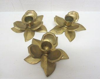Vintage Brass Candlestick / Candle Holder / Chamberstick Lotus Flower Lot Of 3