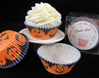 Halloween Jack-o-Lantern Cupcake Liners, Halloween, Halloween Party, Kids Party, Halloween Cupcakes - Quantity 25