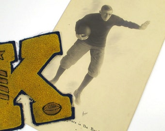 Vintage College Football Player Studio Photo & Vintage Chenille Varsity Letter K, 1911, Fraternity Man, Fall Sports, Man Cave