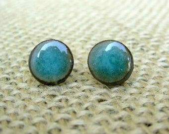 Pottery Post Earrings- Teal