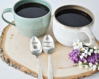 Personalized Mini Latte Set for Couples: 2 Mugs & 2 Hand Stamped Vintage Coffee Spoons, NSPottery and jessicaNdesigns collaboration