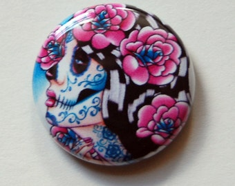 1 inch Pin Back Button - A Moment Of Silence - Day of the Dead Sugar Skull Girl Tattoo Flash Artwork on a One Inch Badge