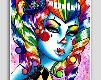 Poster 18x24 inch Signed Art Print Masked 3 - Alternative Lowbrow Punk Rock Clown Girl Rainbow Haired Tattoo Art Pin Up - Circus Art