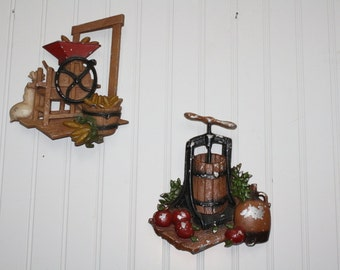 Homco Apple Press - Corn Grinder Wall Decor - set of 2