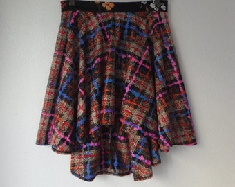 Handmade circle skirt vintage fabric plaid