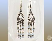 Hooks, Blue Chalcedony, Czech Clear Crystal, Antique Brass, Chalcedony, Chandelier Earrings