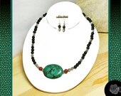 """18"""" AAA Turquoise Center Red Onyx and 6mm Black Onyx Rounds Fancy Pewter Spacers Necklace Lobster Clasp And/Or Sterling Silver Hook Earrings"""