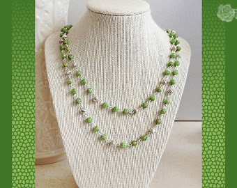 """40"""" Wrapable Necklace 6mm Green Millifiori Many Flowers Glass Beads Handmade Siver Bead Chain Links Necklace Silver Strong Magnetic Clasp"""