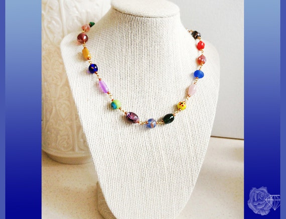 """16"""" Necklace Colorful Round and Oval Lampwork and Multicolor Pressed Glass Bead Chain HandMade Gold Link Chain Strong Gold Magnetic Clasp"""