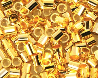 Crimp Bead-2mm Tube-Gold-Quantity 100