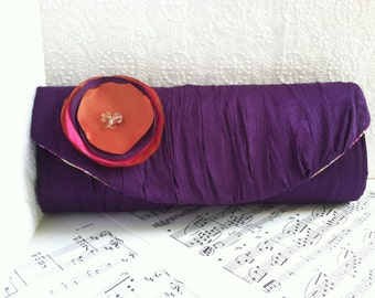 Wedding clutch purse with fabric flower. Custom colors. Gathered silk clutch with flower. Personalized Bridesmaid bag.