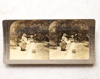vintage stereocard photograph : keystone stereo card ixtli fiber into rope paper ephemera mixed media