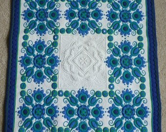Quilted blue, green and white Vintage Tablecloth