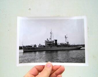 1950s Navy Ship Black and White Photo, Vintage Battleship Mid Century Photo, Black and White Photo Ship