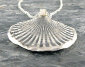 Silver Seashell Necklace, Seashell Sterling Silver Necklace Gift For Her, Sea Shell Pendant Seaside Jewelry Beach Jewelry Oxidized Silver