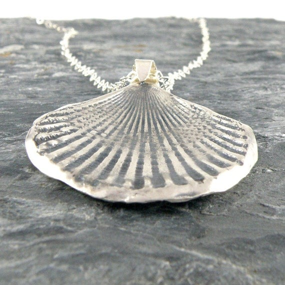 Silver Seashell Necklace , Seashell Sterling Silver Necklace Gift For Her , Sea Shell Pendant Seaside Jewelry Beach Jewelry Oxidized Silver