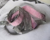Hand Dyed Painted Habotai - Silk Wrap Bracelet - Soft pink Gray - Fairy Ribbon, DIY wrap bracelet, Silk Bracelet, Ribbon Wrap, Ribbon