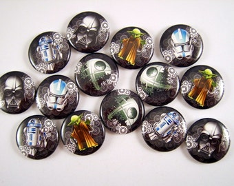 """Star Wars Inspired Pins, Star Wars Inspired Magnets, 1"""" Inch  Flat Back Buttons, Pins, Magnets, Cabochons, Cupcake Picks 12 ct., Set B"""