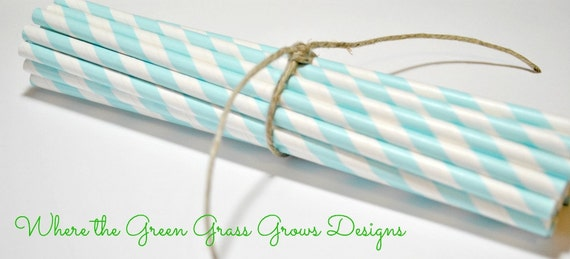 Light Blue and White Paper Party Straws