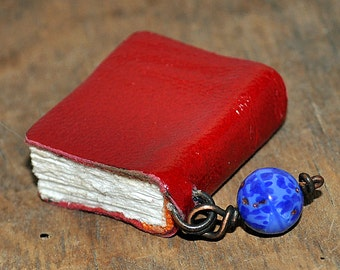 Bead, tiny leather journal book, handmade, miniature, jewelry art, necklace, accessory, JunqueTreasures
