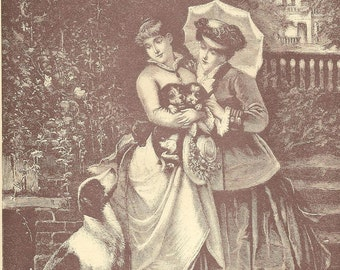 Elegant Ladies with Puppies and Mother Dog Original Black and White Litho Bookplate from 1886 Worthington's Natural History Antique Litho
