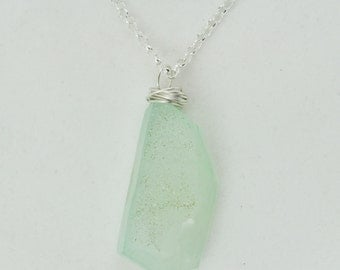 Blue Green Druzy Necklace on a Sterling Silver Chain, Light Aqua Blue Wire Wrapped Gemstone Drusy Pendant Necklace, OOAK Druse Necklace