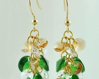 Swarovski Crystal Cluster Earrings, Fern Green, Topaz & Clear Crystal Earrings on Gold Wires, Fashion Dangle Earrings, Unique Drop Earrings