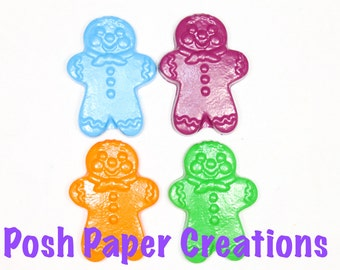 8 Gingerbread man crayons - in cello bag tied with ribbon - choose your colors