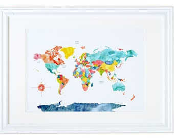 World Map Art Print -- Go, See, Wander, Wonder