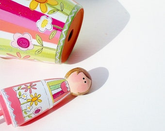 """Plant Stake """"Garden Girls"""" Hand Painted Peg People Coordinates with """"Sherbet Stripes"""" Pot, , Teacher Gift, Hostess Gift"""