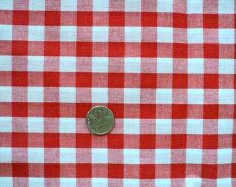 Red and White Checkered Fabric - (Squares are 1/2 inch) - 1 yard - More Available