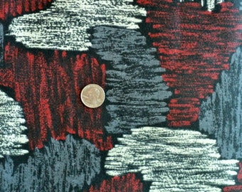 Retro Grey, Black, Red and White Double Knit Polyester Fabric - 1 yard, 5 inches long x 60 inches wide